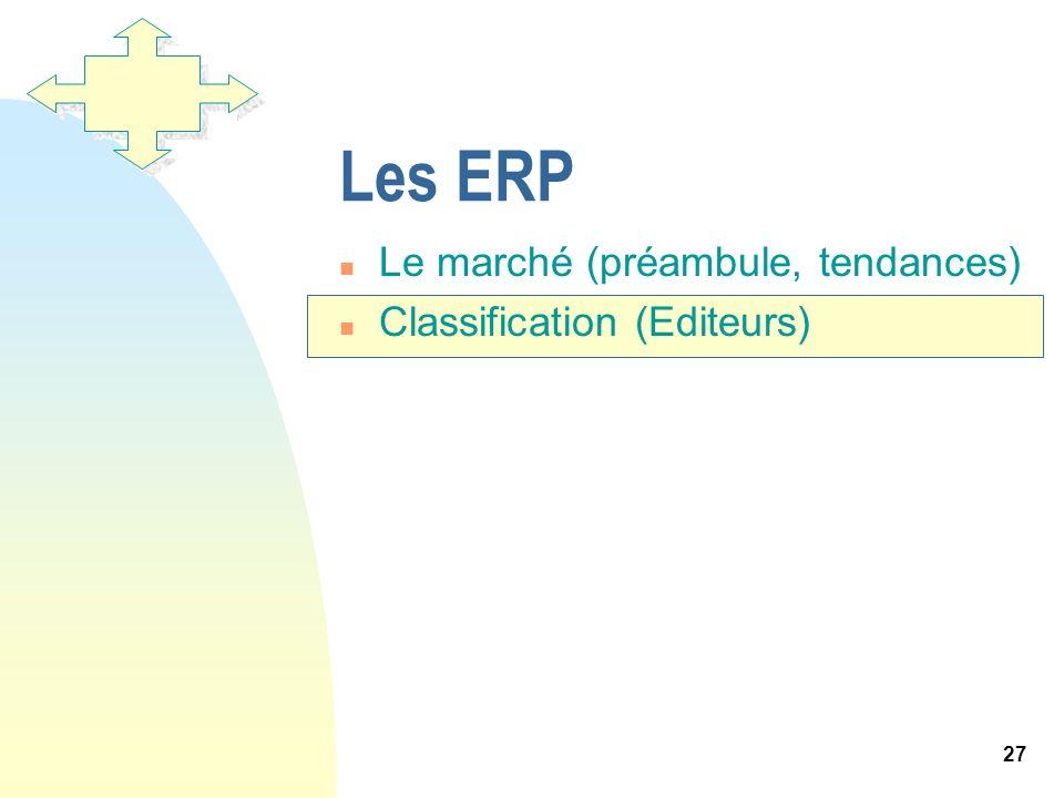 27 Les ERP n Le marché (préambule, tendances) n Classification (Editeurs)