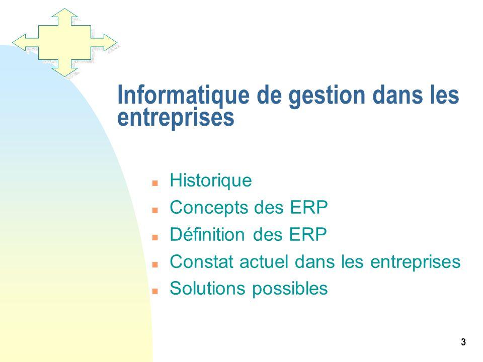 3 Informatique de gestion dans les entreprises n Historique n Concepts des ERP n Définition des ERP n Constat actuel dans les entreprises n Solutions