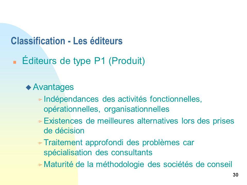 30 Classification - Les éditeurs n Éditeurs de type P1 (Produit) u Avantages F Indépendances des activités fonctionnelles, opérationnelles, organisati
