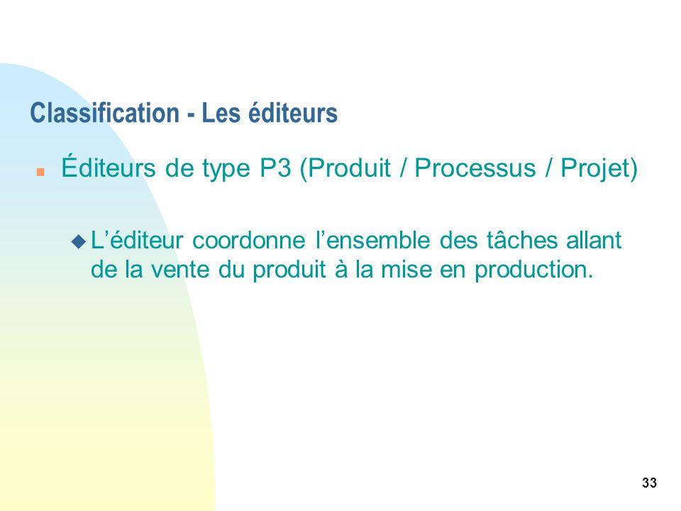 33 Classification - Les éditeurs n Éditeurs de type P3 (Produit / Processus / Projet) u Léditeur coordonne lensemble des tâches allant de la vente du