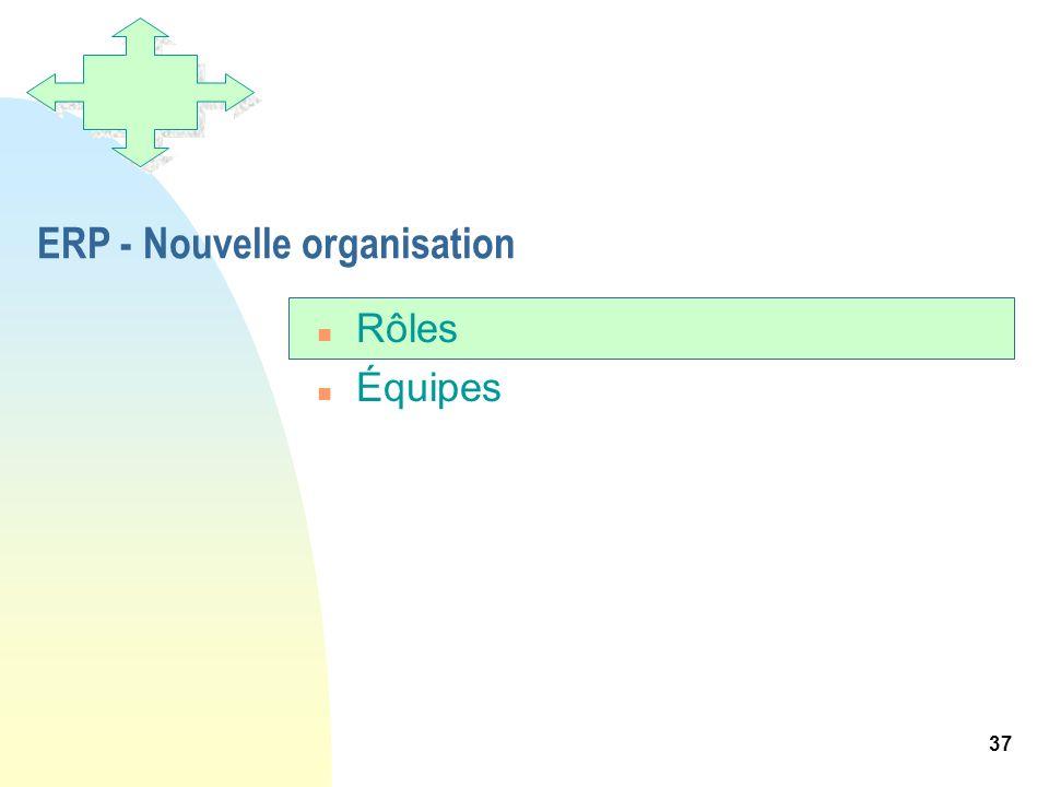 37 ERP - Nouvelle organisation n Rôles n Équipes