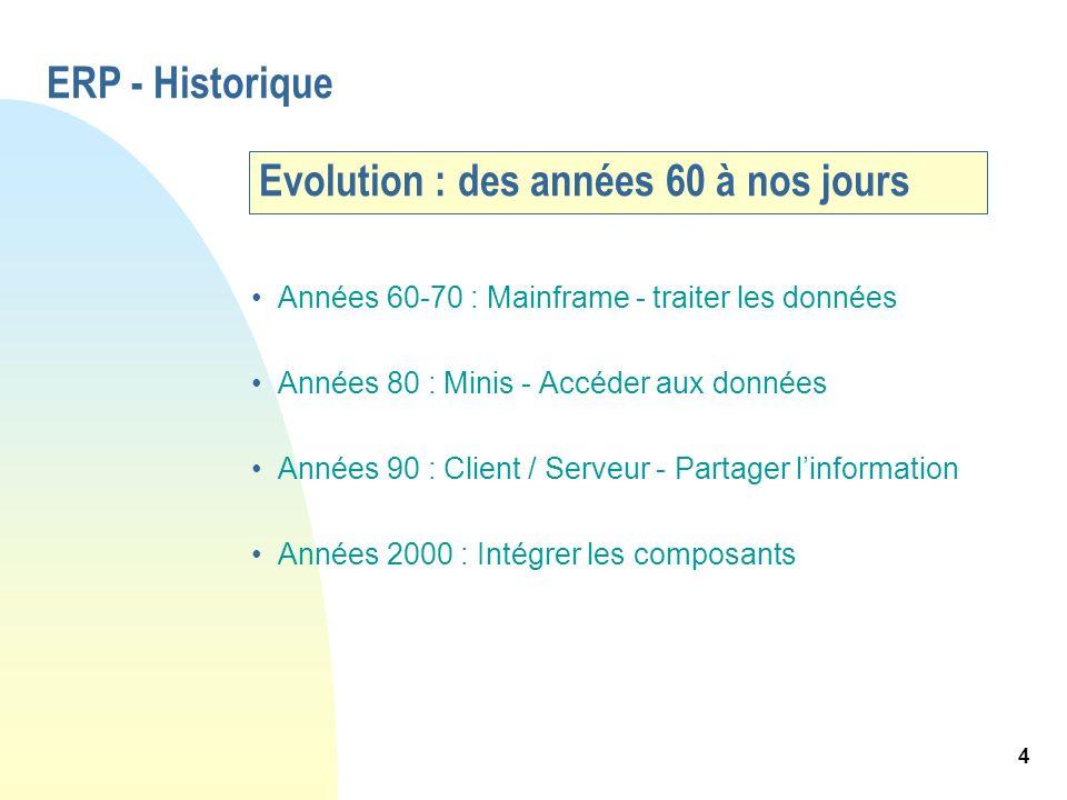 4 Evolution : des années 60 à nos jours Années 60-70 : Mainframe - traiter les données Années 80 : Minis - Accéder aux données Années 90 : Client / Se