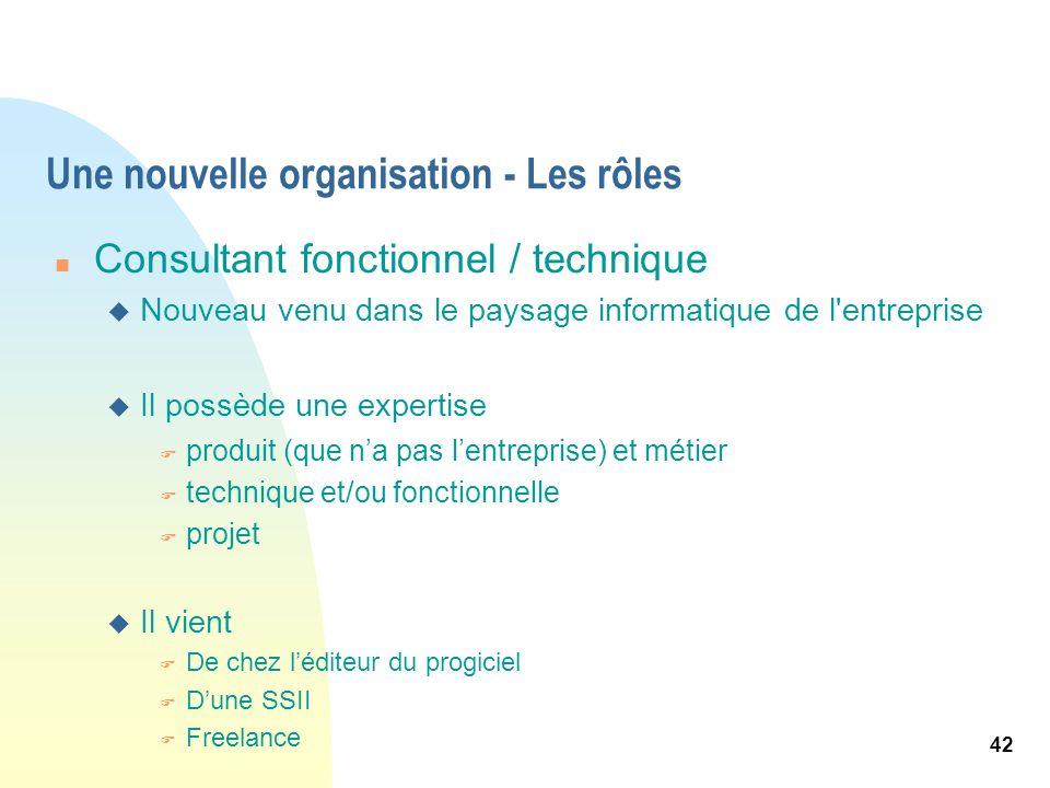 42 Une nouvelle organisation - Les rôles n Consultant fonctionnel / technique u Nouveau venu dans le paysage informatique de l'entreprise u Il possède
