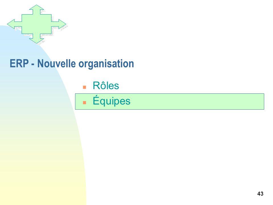 43 ERP - Nouvelle organisation n Rôles n Équipes