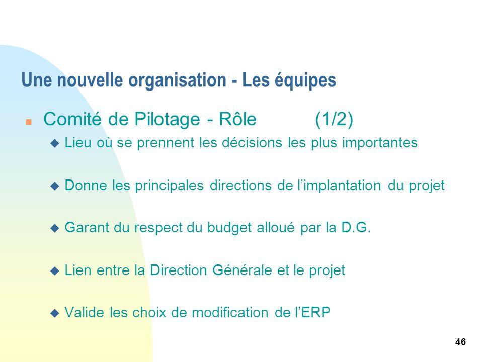46 Une nouvelle organisation - Les équipes n Comité de Pilotage - Rôle(1/2) u Lieu où se prennent les décisions les plus importantes u Donne les princ