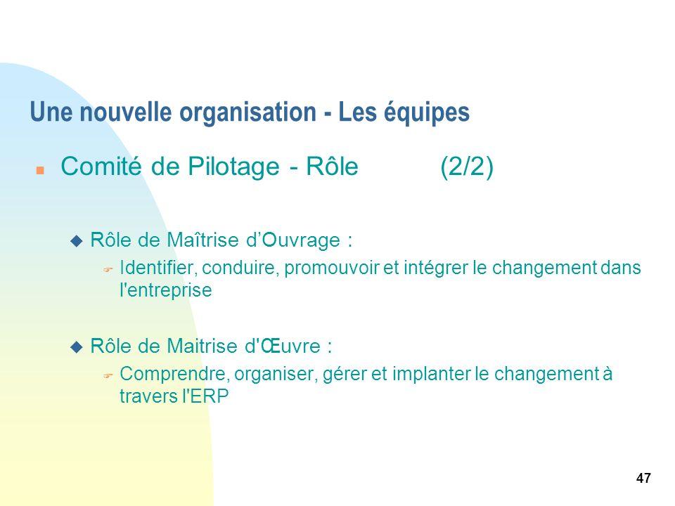 47 Une nouvelle organisation - Les équipes n Comité de Pilotage - Rôle (2/2) u Rôle de Maîtrise dOuvrage : F Identifier, conduire, promouvoir et intég