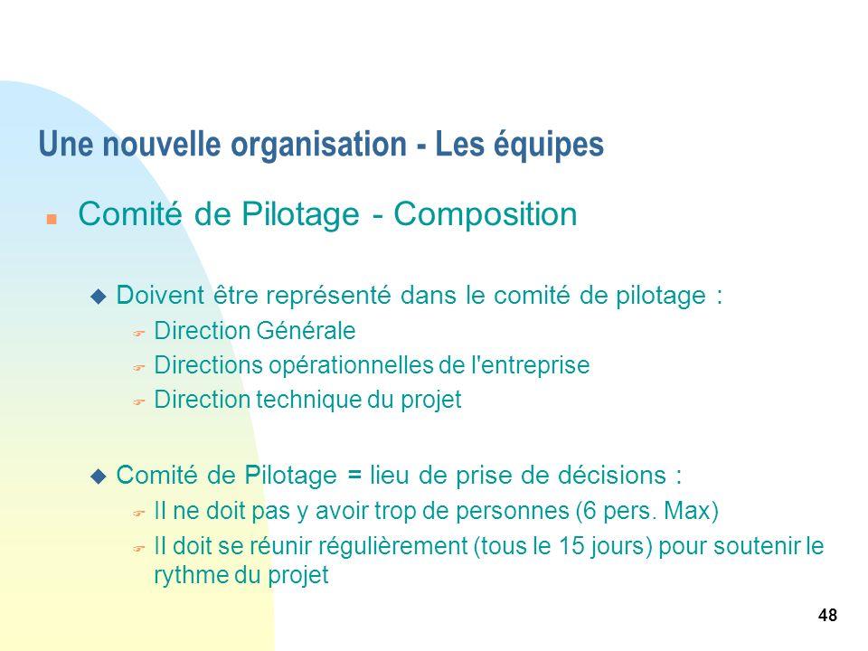 48 Une nouvelle organisation - Les équipes n Comité de Pilotage - Composition u Doivent être représenté dans le comité de pilotage : F Direction Génér