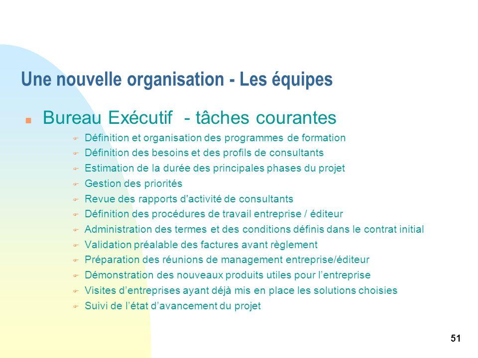 51 Une nouvelle organisation - Les équipes n Bureau Exécutif - tâches courantes F Définition et organisation des programmes de formation F Définition