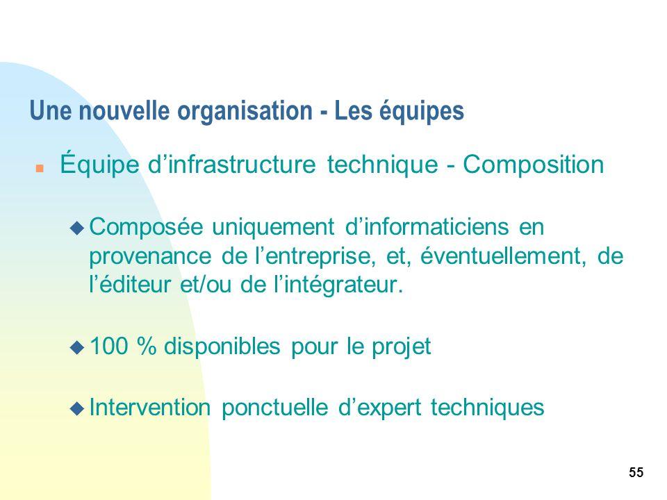 55 Une nouvelle organisation - Les équipes n Équipe dinfrastructure technique - Composition u Composée uniquement dinformaticiens en provenance de len
