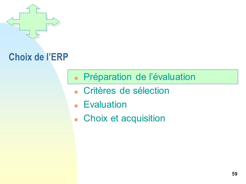 59 Choix de lERP n Préparation de lévaluation n Critères de sélection n Evaluation n Choix et acquisition