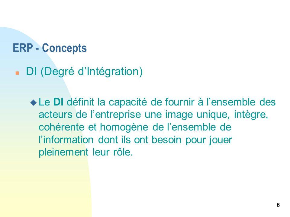 6 ERP - Concepts n DI (Degré dIntégration) u Le DI définit la capacité de fournir à lensemble des acteurs de lentreprise une image unique, intègre, co