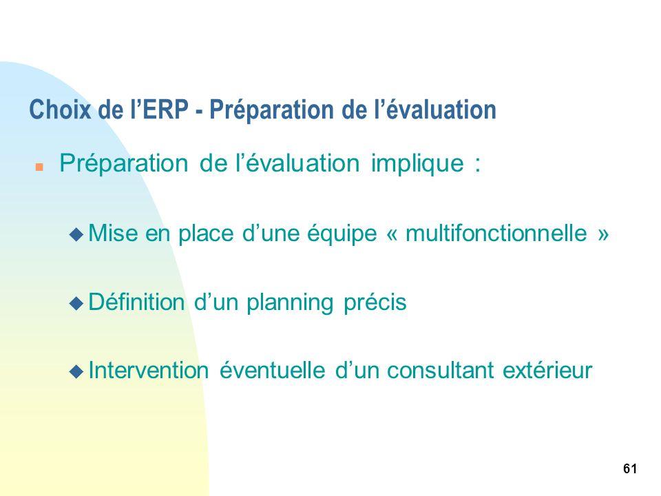 61 Choix de lERP - Préparation de lévaluation n Préparation de lévaluation implique : u Mise en place dune équipe « multifonctionnelle » u Définition