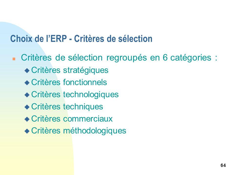 64 Choix de lERP - Critères de sélection n Critères de sélection regroupés en 6 catégories : u Critères stratégiques u Critères fonctionnels u Critère
