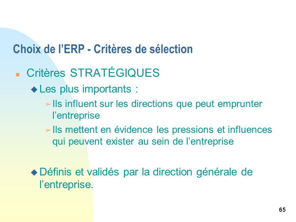 65 Choix de lERP - Critères de sélection n Critères STRATÉGIQUES u Les plus importants : F Ils influent sur les directions que peut emprunter lentrepr