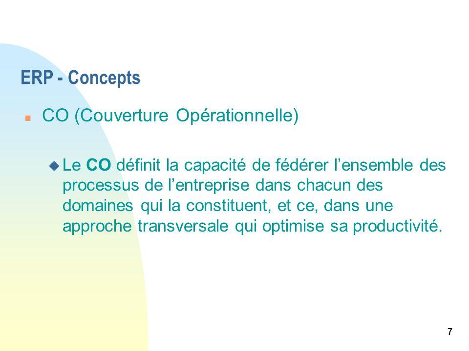 7 ERP - Concepts n CO (Couverture Opérationnelle) u Le CO définit la capacité de fédérer lensemble des processus de lentreprise dans chacun des domain