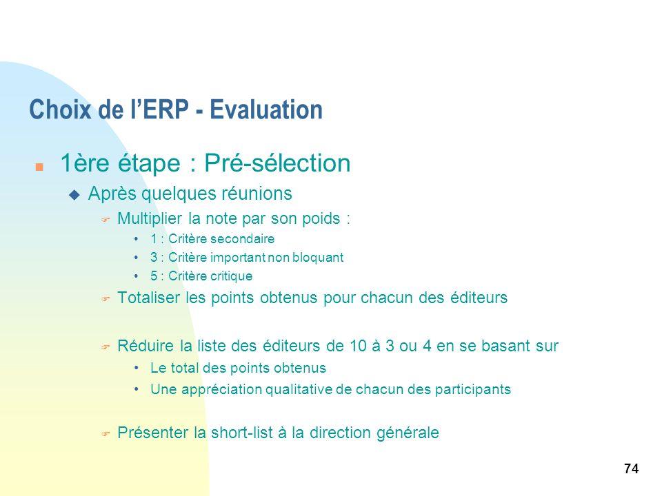 74 Choix de lERP - Evaluation n 1ère étape : Pré-sélection u Après quelques réunions F Multiplier la note par son poids : 1 : Critère secondaire 3 : C