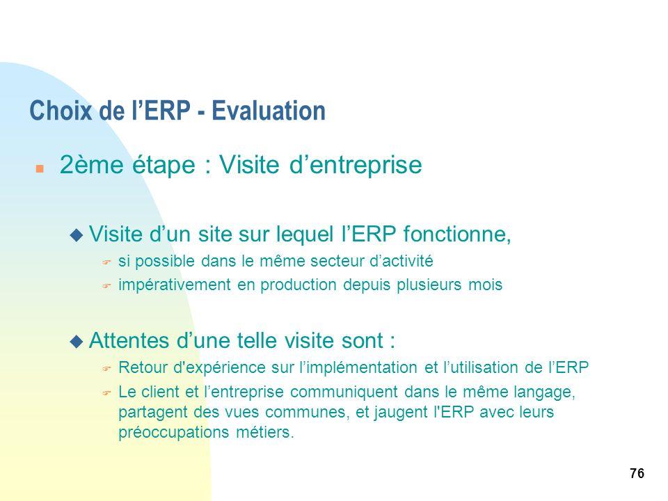76 Choix de lERP - Evaluation n 2ème étape : Visite dentreprise u Visite dun site sur lequel lERP fonctionne, F si possible dans le même secteur dacti