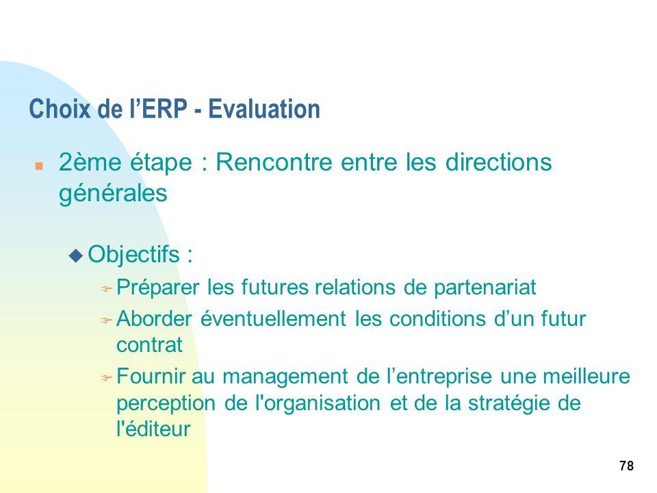 78 Choix de lERP - Evaluation n 2ème étape : Rencontre entre les directions générales u Objectifs : F Préparer les futures relations de partenariat F