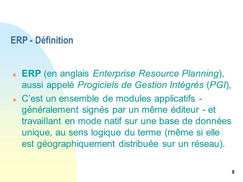 8 ERP - Définition n ERP (en anglais Enterprise Resource Planning), aussi appelé Progiciels de Gestion Intégrés (PGI), n Cest un ensemble de modules a
