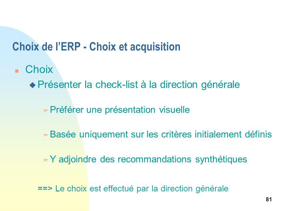 81 Choix de lERP - Choix et acquisition n Choix u Présenter la check-list à la direction générale F Préférer une présentation visuelle F Basée uniquem