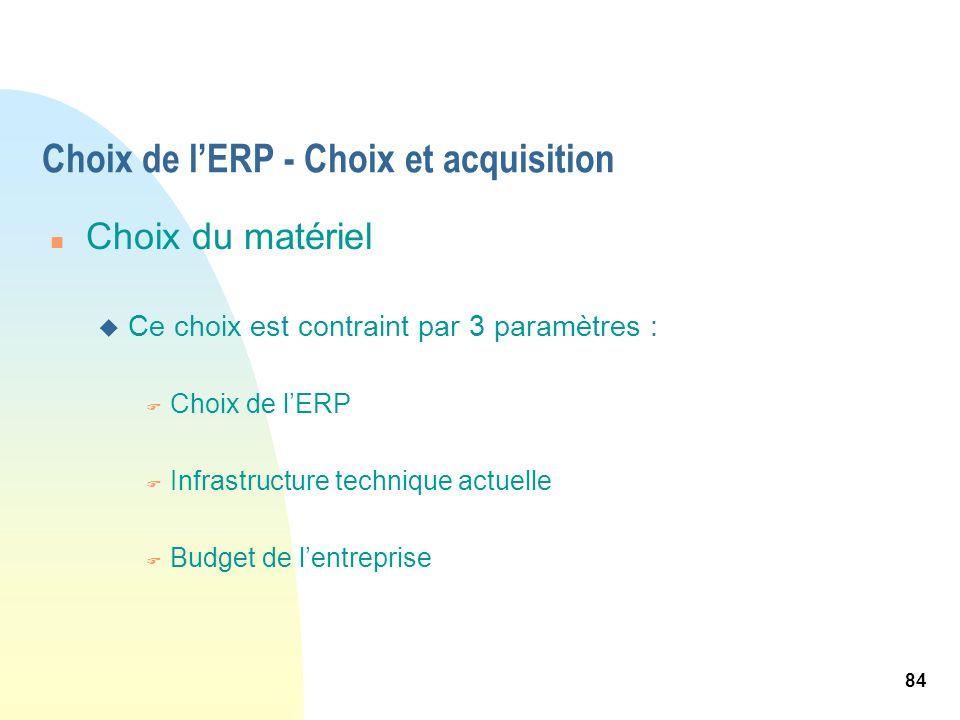 84 Choix de lERP - Choix et acquisition n Choix du matériel u Ce choix est contraint par 3 paramètres : F Choix de lERP F Infrastructure technique act