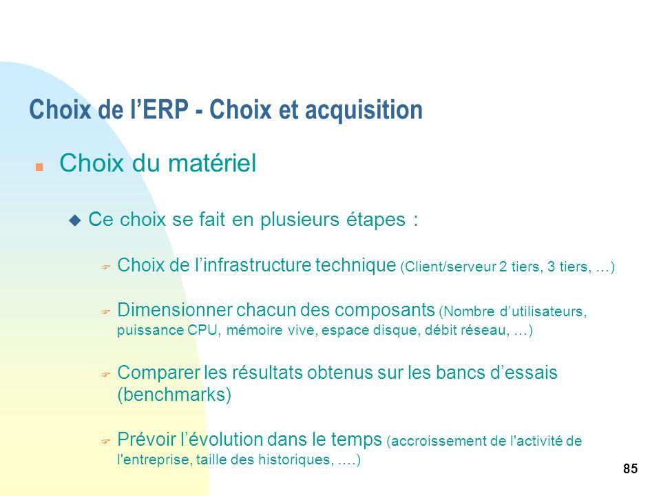 85 Choix de lERP - Choix et acquisition n Choix du matériel u Ce choix se fait en plusieurs étapes : F Choix de linfrastructure technique (Client/serv