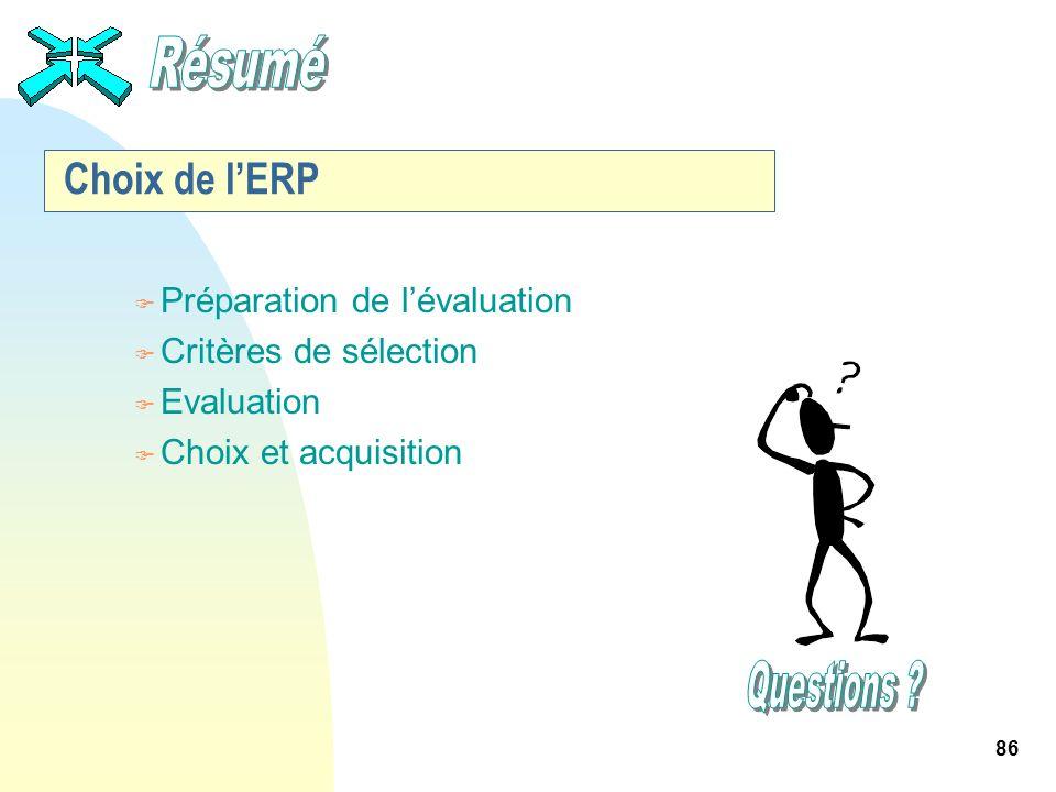86 Choix de lERP F Préparation de lévaluation F Critères de sélection F Evaluation F Choix et acquisition