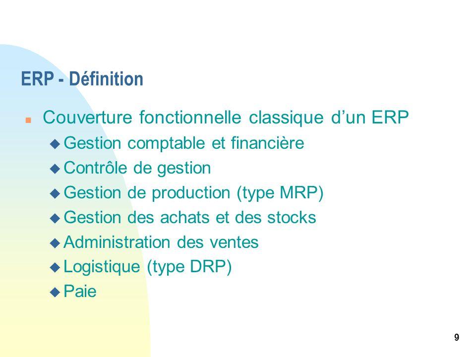 9 ERP - Définition n Couverture fonctionnelle classique dun ERP u Gestion comptable et financière u Contrôle de gestion u Gestion de production (type