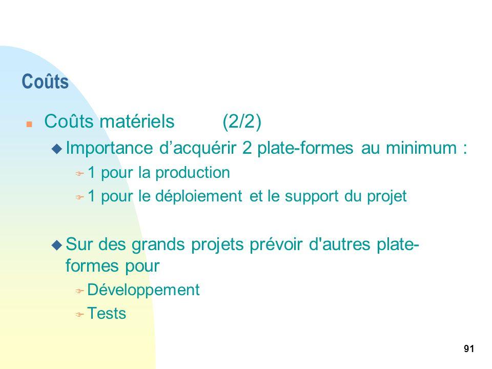 91 Coûts n Coûts matériels(2/2) u Importance dacquérir 2 plate-formes au minimum : F 1 pour la production F 1 pour le déploiement et le support du pro