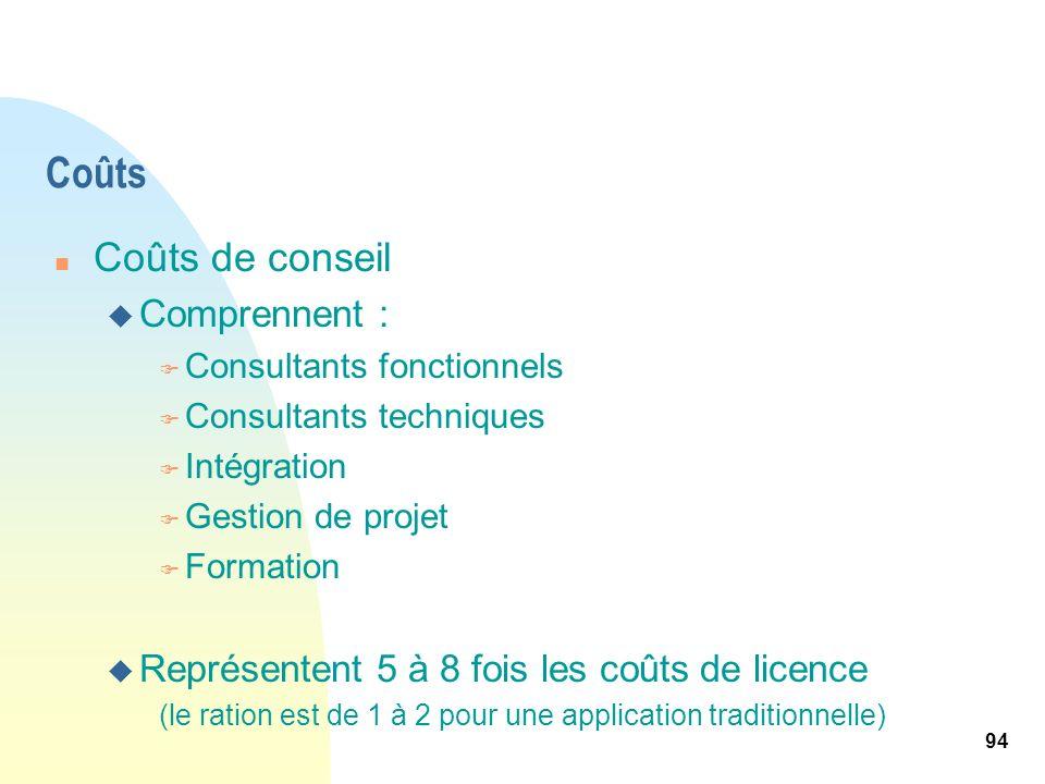 94 Coûts n Coûts de conseil u Comprennent : F Consultants fonctionnels F Consultants techniques F Intégration F Gestion de projet F Formation u Représ