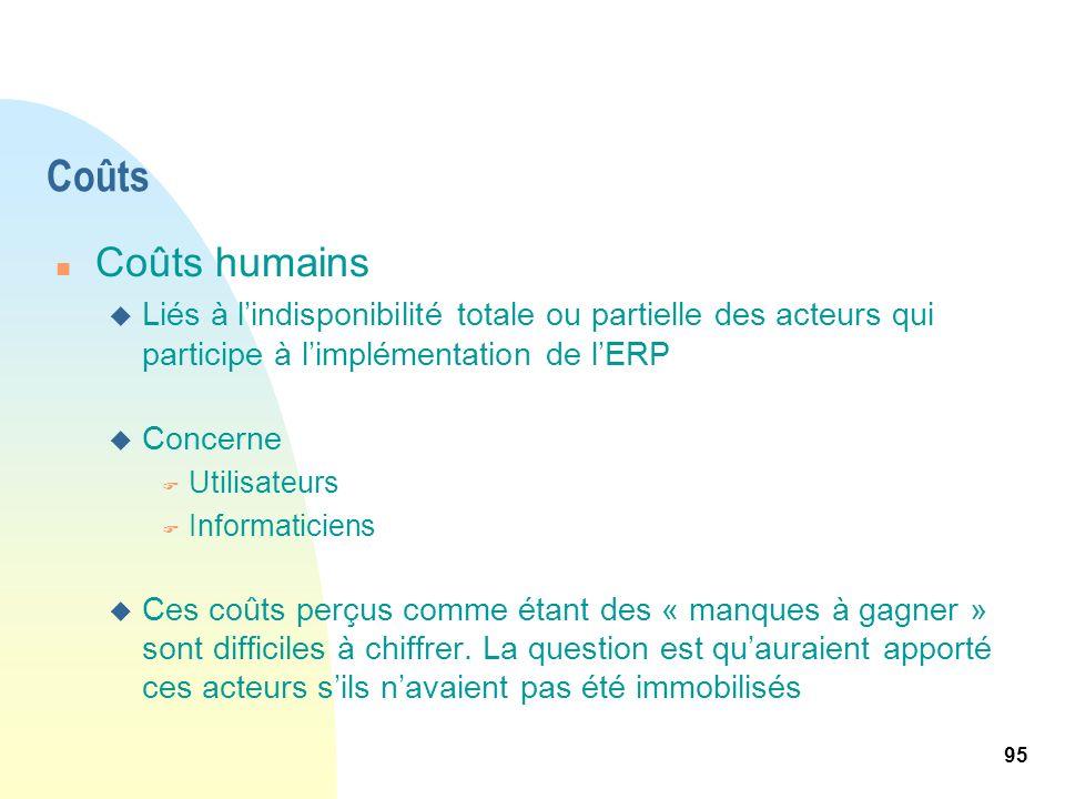 95 Coûts n Coûts humains u Liés à lindisponibilité totale ou partielle des acteurs qui participe à limplémentation de lERP u Concerne F Utilisateurs F