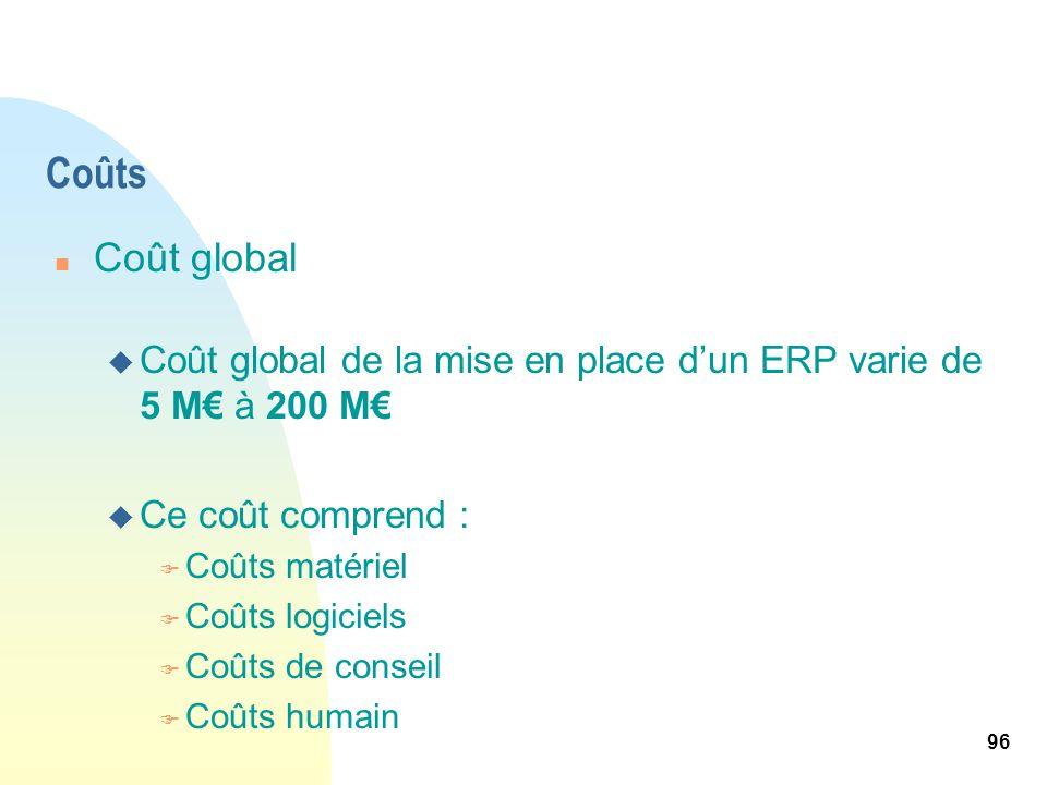 96 Coûts n Coût global u Coût global de la mise en place dun ERP varie de 5 M à 200 M u Ce coût comprend : F Coûts matériel F Coûts logiciels F Coûts