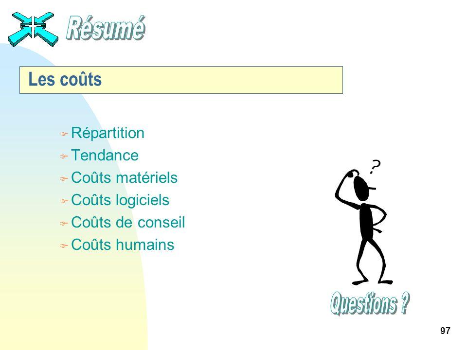97 Les coûts F Répartition F Tendance F Coûts matériels F Coûts logiciels F Coûts de conseil F Coûts humains