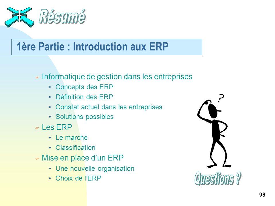 98 1ère Partie : Introduction aux ERP F Informatique de gestion dans les entreprises Concepts des ERP Définition des ERP Constat actuel dans les entre