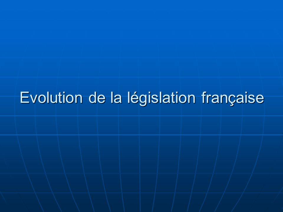 Evolution de la législation française