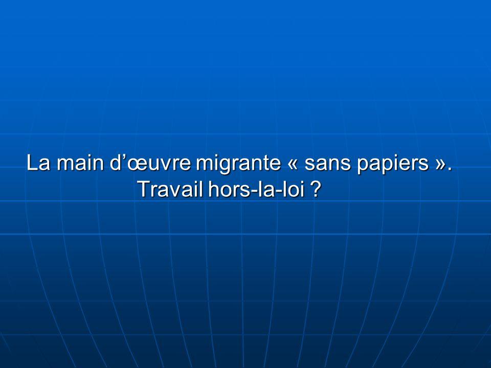 PLANIntroduction I- Profil des sans papiers II- Le travail des sans papiers III- Evolution de la législation française Conclusion