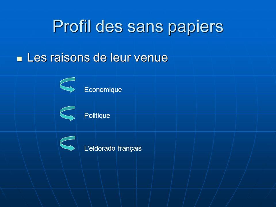 Profil des sans papiers Les raisons de leur venue Les raisons de leur venue Economique Politique Leldorado français