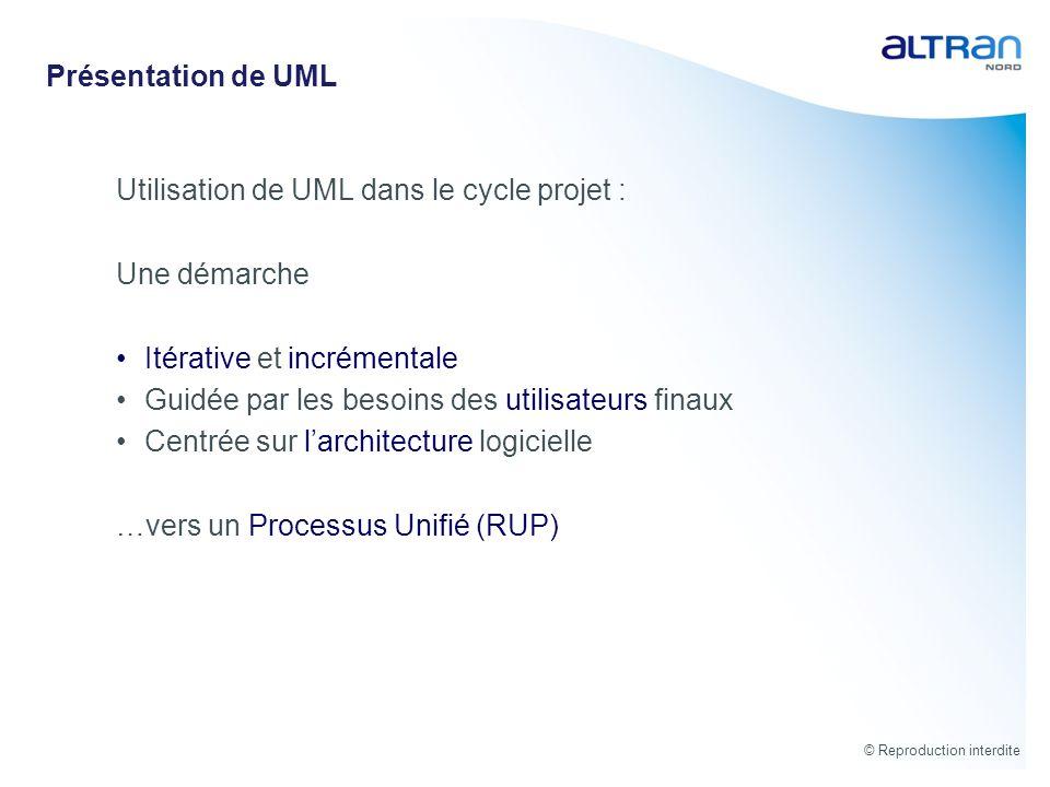 © Reproduction interdite Présentation de UML Utilisation de UML dans le cycle projet : Une démarche Itérative et incrémentale Guidée par les besoins d