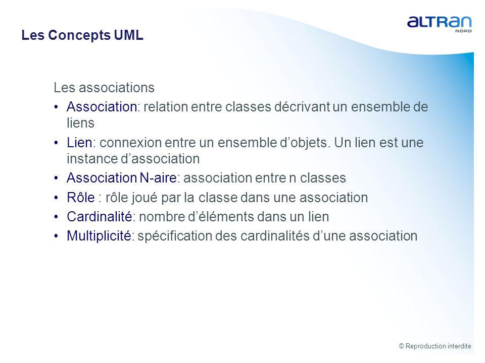 © Reproduction interdite Les Concepts UML Les associations Association: relation entre classes décrivant un ensemble de liens Lien: connexion entre un