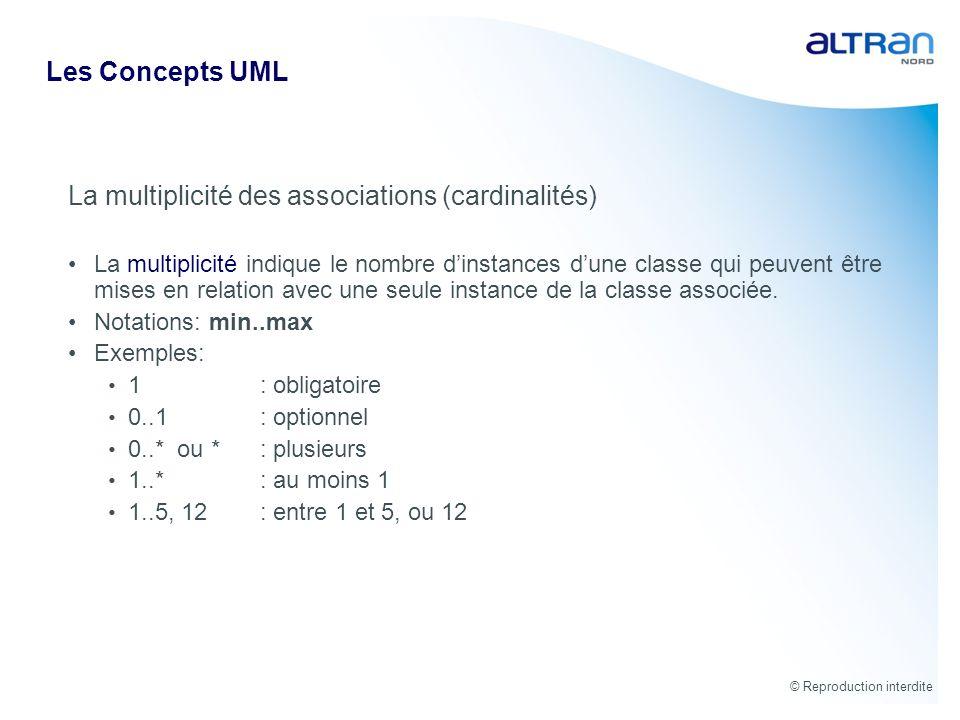 © Reproduction interdite Les Concepts UML La multiplicité des associations (cardinalités) La multiplicité indique le nombre dinstances dune classe qui