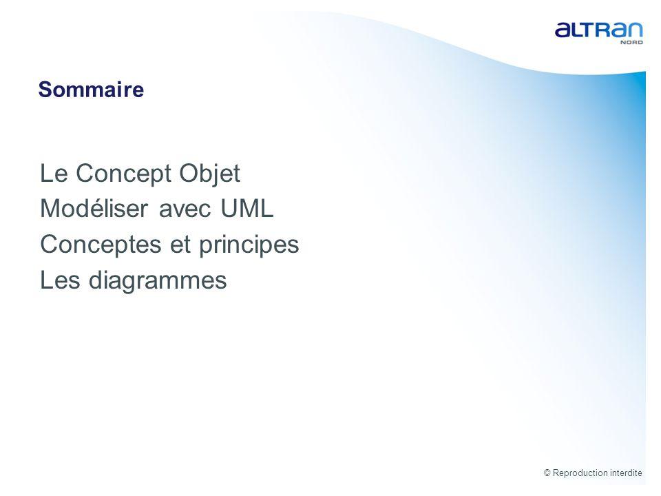 © Reproduction interdite Sommaire Le Concept Objet Modéliser avec UML Conceptes et principes Les diagrammes