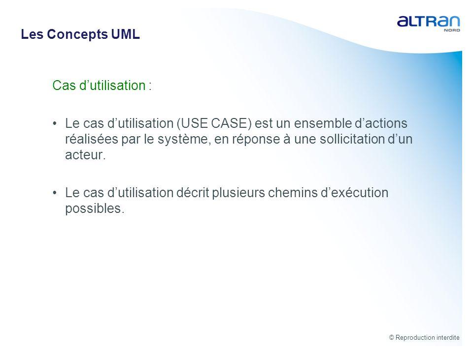© Reproduction interdite Cas dutilisation : Le cas dutilisation (USE CASE) est un ensemble dactions réalisées par le système, en réponse à une sollici