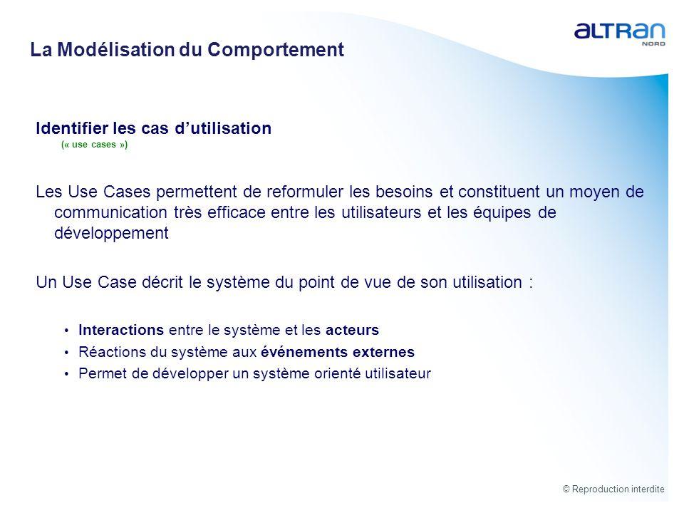 © Reproduction interdite Identifier les cas dutilisation (« use cases ») Les Use Cases permettent de reformuler les besoins et constituent un moyen de