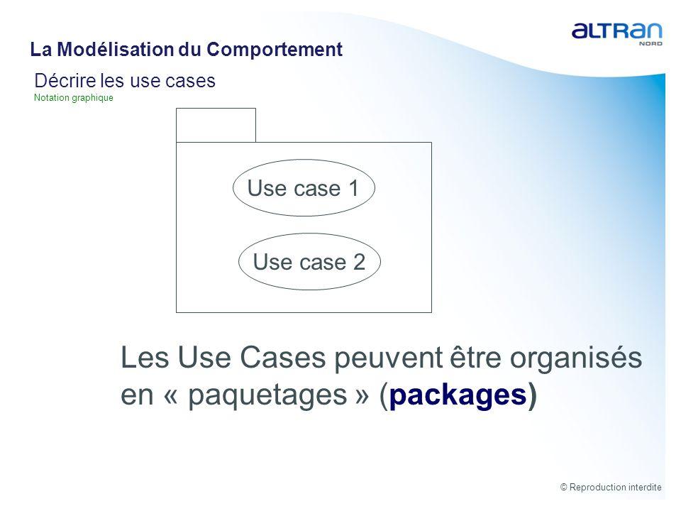 © Reproduction interdite Décrire les use cases Notation graphique Use case 1 Les Use Cases peuvent être organisés en « paquetages » (packages) Use cas