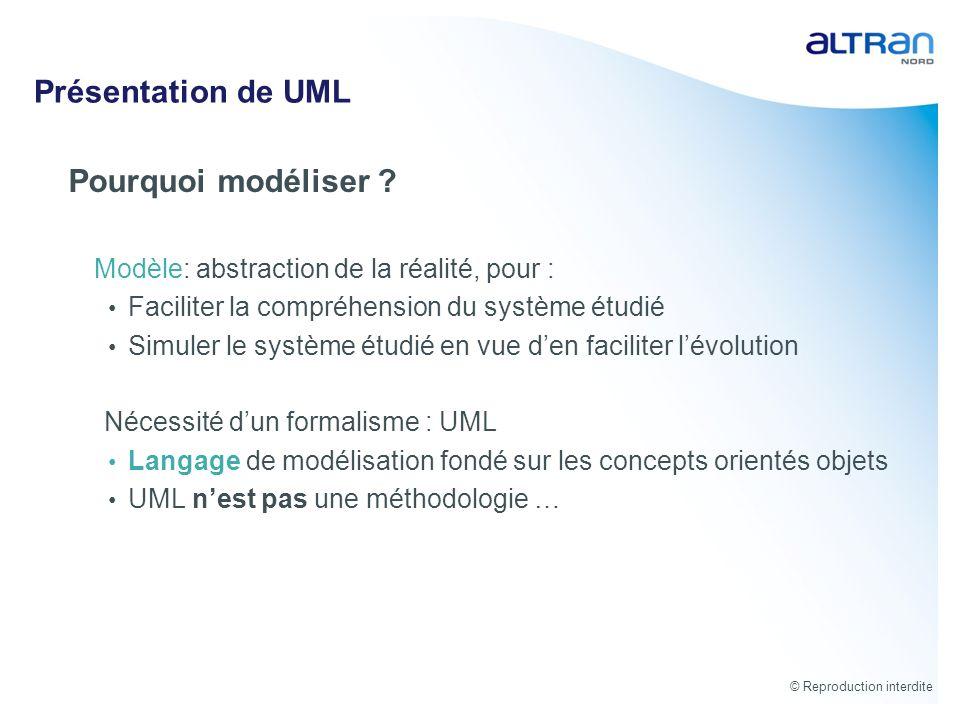 © Reproduction interdite Présentation de UML Pourquoi modéliser ? Modèle: abstraction de la réalité, pour : Faciliter la compréhension du système étud