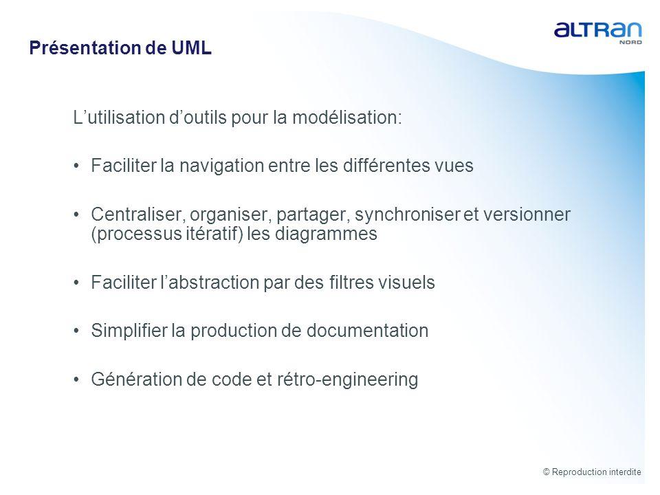 © Reproduction interdite Présentation de UML Lutilisation doutils pour la modélisation: Faciliter la navigation entre les différentes vues Centraliser