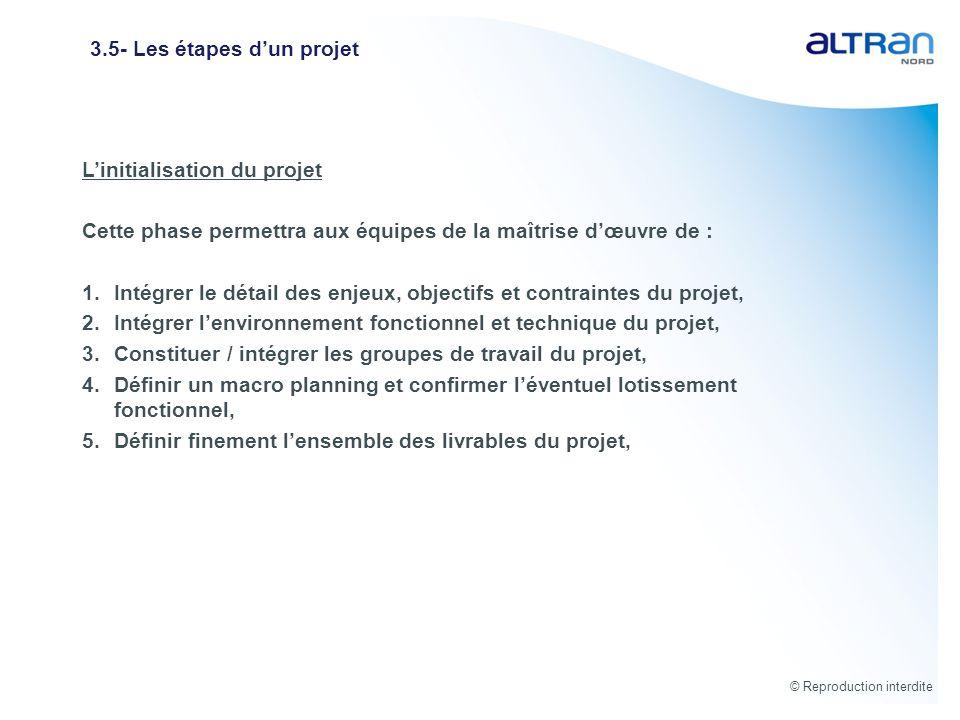 © Reproduction interdite 3.5- Les étapes dun projet Linitialisation du projet Cette phase permettra aux équipes de la maîtrise dœuvre de : 1.Intégrer