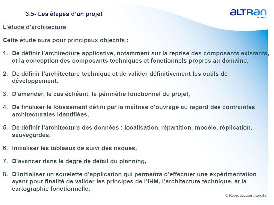© Reproduction interdite 3.5- Les étapes dun projet Létude darchitecture Cette étude aura pour principaux objectifs : 1.De définir larchitecture appli