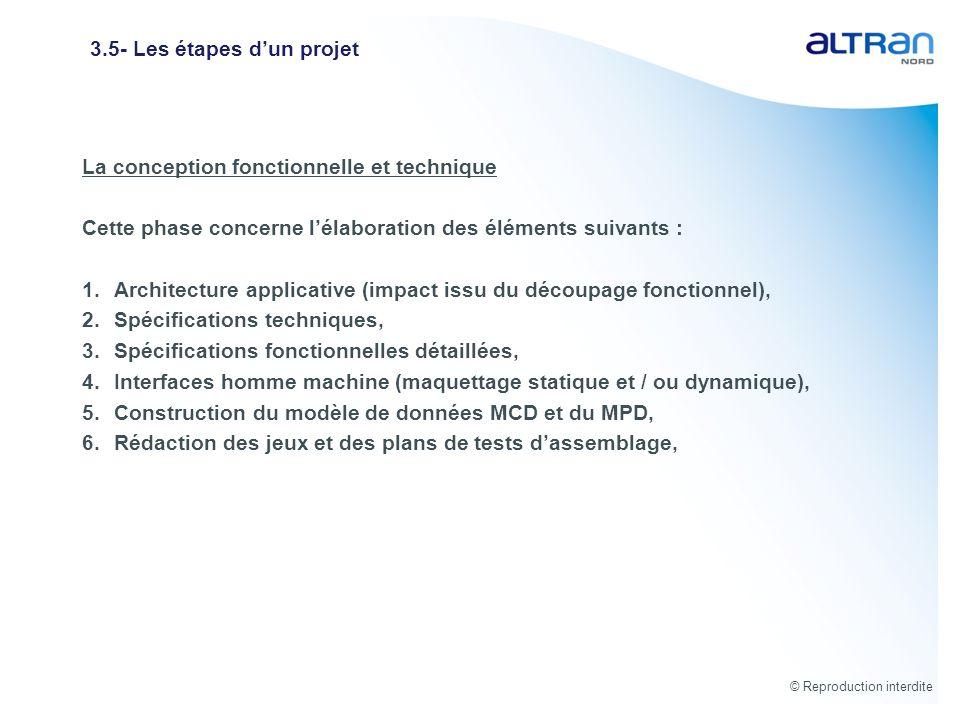 © Reproduction interdite 3.5- Les étapes dun projet La conception fonctionnelle et technique Cette phase concerne lélaboration des éléments suivants :
