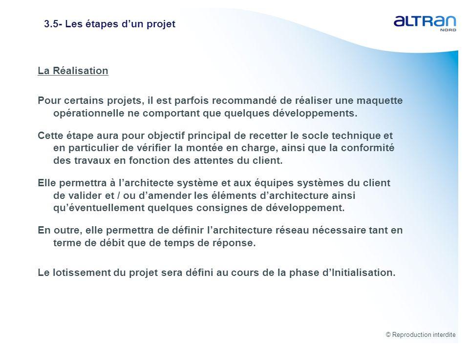 © Reproduction interdite 3.5- Les étapes dun projet La Réalisation Pour certains projets, il est parfois recommandé de réaliser une maquette opération